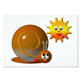 Cute snail with smiling sun personalized invitation