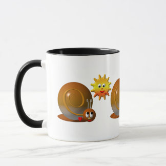 Cute snail with smiling sun mug