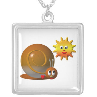 Cute snail with smiling sun silver plated necklace