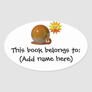 Cute snail with smiling sun oval sticker
