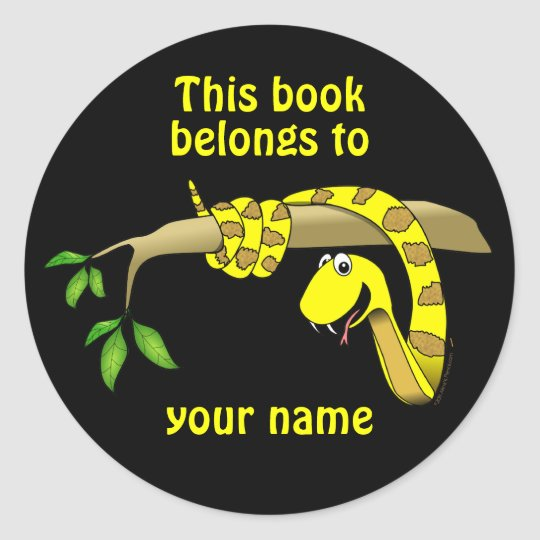 Cute Snake in a Tree Reptile Custom Bookplates