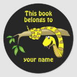 Cute Snake in a Tree Reptile Custom Bookplates Classic Round Sticker