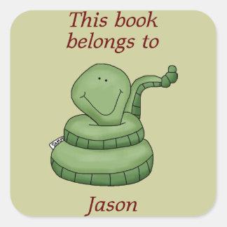 Cute Snake This Book Belongs To Book Plate Sticker
