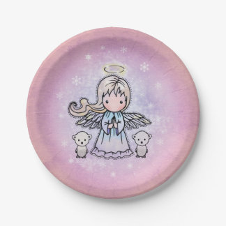Cute Snow Angel and Tiny Polar Bears Illustration 7 Inch Paper Plate
