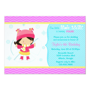 Cute Snow Angel Kids Winter Birthday Party Card at Zazzle