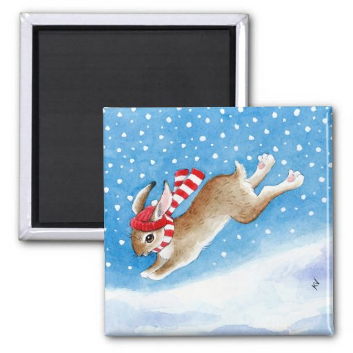 Cute snow bunny rabbit cartoon magnet
