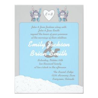 Cute snow bunny skier custom wedding invites