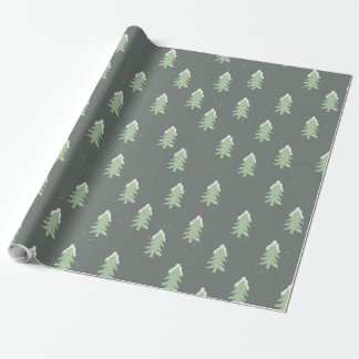 Cute Snow Capped Christmas Pine Trees Wrapping Paper