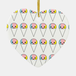 Cute Snow Cones Double-Sided Heart Ceramic Christmas Ornament