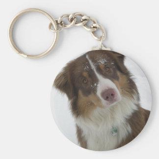 Cute Snow Dog Button Keychain