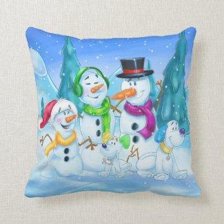 Cute snow family cartoon pillow