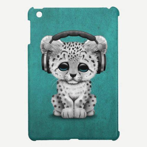 Cute Snow leopard Cub Dj Wearing Headphones Blue iPad Mini Case