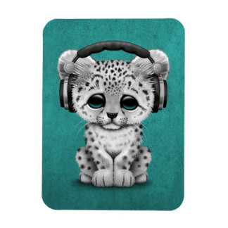Cute Snow leopard Cub Dj Wearing Headphones Blue Magnet