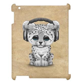 Cute Snow leopard Cub Dj Wearing Headphones iPad Covers