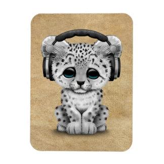 Cute Snow leopard Cub Dj Wearing Headphones Magnet