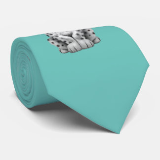 Cute Snow leopard Cub Dj Wearing Headphones Neck Tie