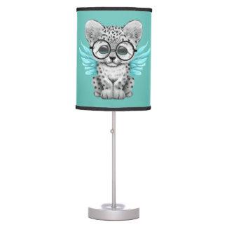 Cute Snow Leopard Cub Fairy Wearing Glasses Blue Table Lamps