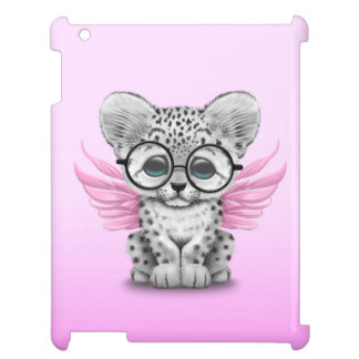 Cute Snow Leopard Cub Fairy Wearing Glasses Pink iPad Cases