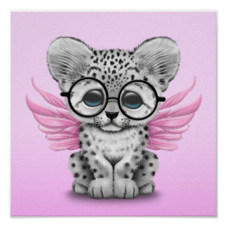 Cute Snow Leopard Cub Fairy Wearing Glasses Pink Poster