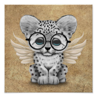 Cute Snow Leopard Cub Fairy Wearing Glasses Poster
