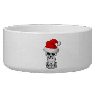 Cute Snow leopard Cub Wearing a Santa Hat Bowl