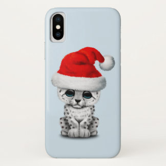 Cute Snow leopard Cub Wearing a Santa Hat iPhone X Case
