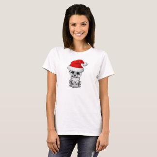 Cute Snow leopard Cub Wearing a Santa Hat T-Shirt