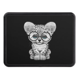 Cute Snow Leopard Cub Wearing Glasses on Black Trailer Hitch Cover