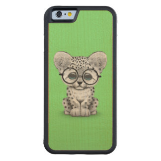 Cute Snow Leopard Cub Wearing Glasses on Green Carved® Maple iPhone 6 Bumper