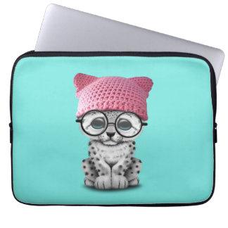 Cute Snow Leopard Cub Wearing Pussy Hat Laptop Sleeve