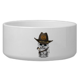 Cute Snow Leopard Cub Zombie Hunter Bowl