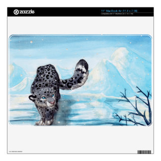Cute snow leopard in winter mountains decal for the MacBook