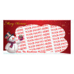 Cute Snow Man with Presents Template Photo Card