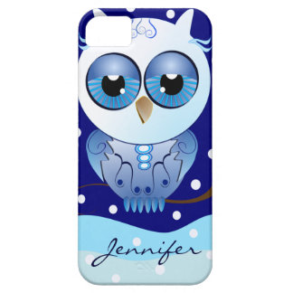 Cute Snow Owl and Custom Name iPhone 5 Cases
