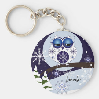 Cute Snow Owl & custom Name keychain