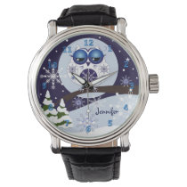 Cute Snow Owl & custom Name watch