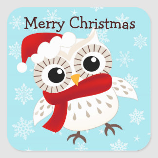 Cute Snow Owl in Snowflakes Stickers