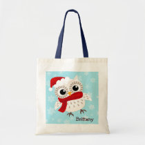 Cute Snow Owl in Snowflakes Tote Bag