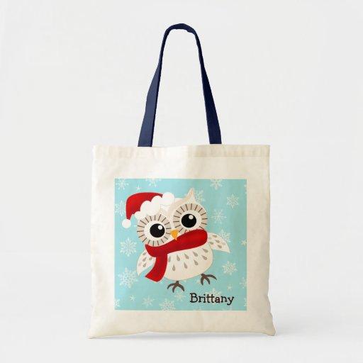Cute Snow Owl in Snowflakes Tote Bag