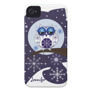 Cute Snow Owl, snowflakes and custom Name iPhone 4 Cover