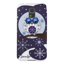 Cute Snow Owl, snowflakes and custom Name Case For Galaxy S5
