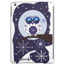 Cute Snow Owl, snowflakes and custom Name iPad Air Case