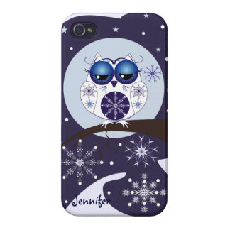 Cute Snow Owl, snowflakes and custom Name Case For iPhone 4