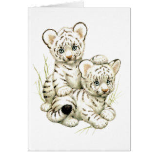 Cute Snow Tiger Cubs Card