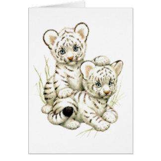 Cute Snow Tiger Cubs Card