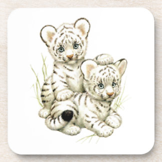 Cute Snow Tiger Cubs Beverage Coasters