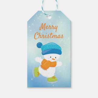 Cute snowbaby blue and orange ice skating gift tags