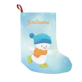 Cute snowbaby blue and orange ice skating small christmas stocking