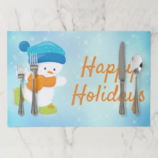 Cute snowbaby blue orange ice skating Christmas Paper Placemat