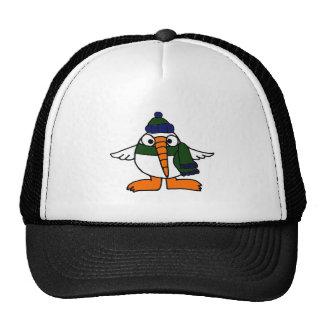Cute Snowbird Bird Cartoon Mesh Hats